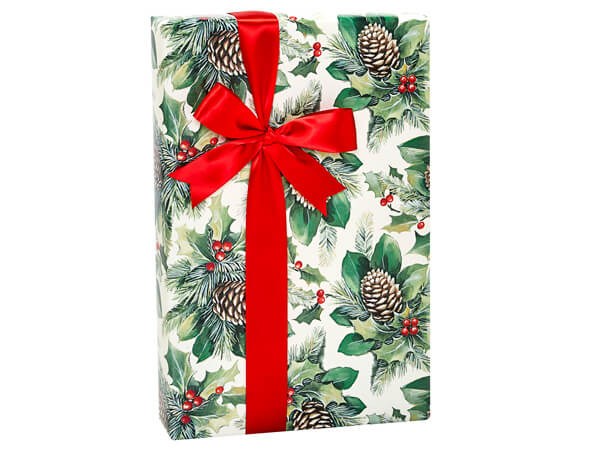 """Boughs of Holly Gift Wrap, 24""""x85' Cutter Roll"""