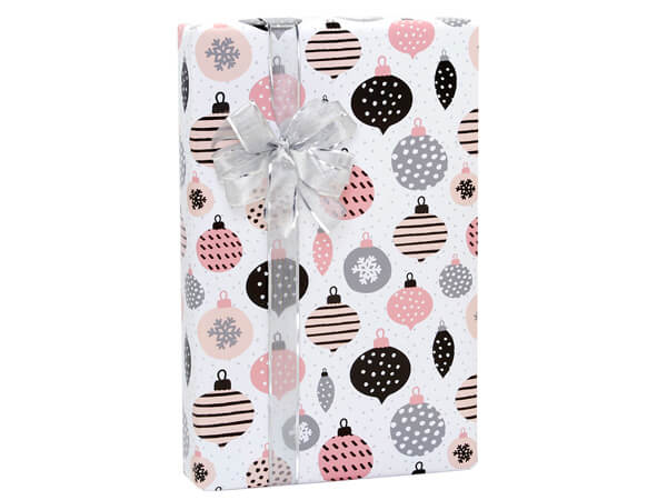 """Mod Pink Ornaments Gift Wrap, 24""""x85' Cutter Roll"""