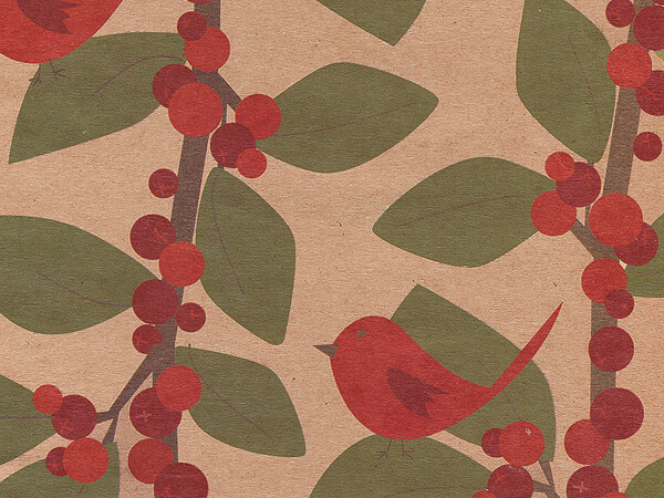 Red Bird Berries Recycled Gift Wrap