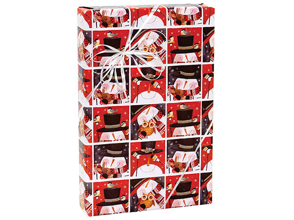 """Snowman Squares Gift Wrap 24""""x85' Cutter Roll"""