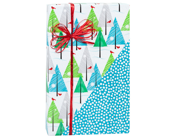 """Winter Day Reversible Gift Wrap 24""""x417' Counter Roll"""