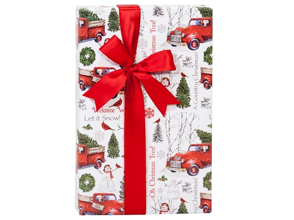 """Country Christmas Reversible Gift Wrap, 24""""x85' Cutter Roll"""