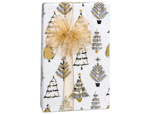 Golden Holiday Trees Premium Recycled Gift Wrap