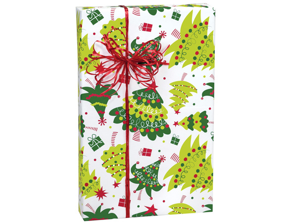 "Jolly Christmas Trees 24""x85' Roll Gift Wrap"