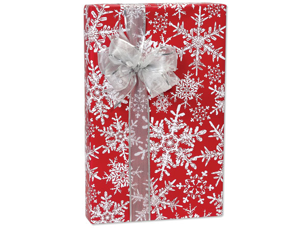 """Christmas Snowflakes Red 24""""x85' Roll Gift Wrap"""