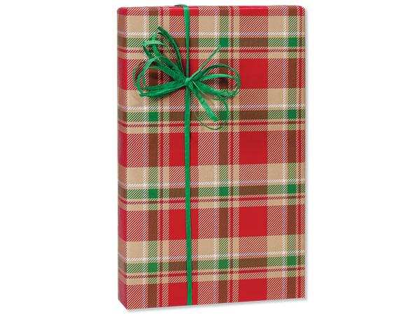 "Christmas Plaid Kraft Gift Wrap 24""x85' Cutter Roll"