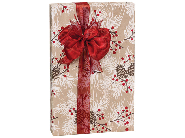 "Woodland Berry Pine 24""x417' kraft Roll Gift Wrap"
