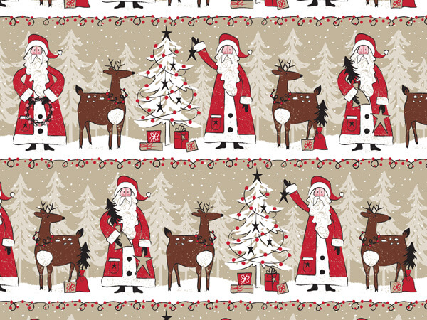"Woodland Santa 24""x85' (kraft) Roll Gift Wrap"