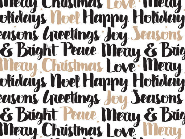 """Golden Holiday Wishes 24""""x417' Roll Gift Wrap"""