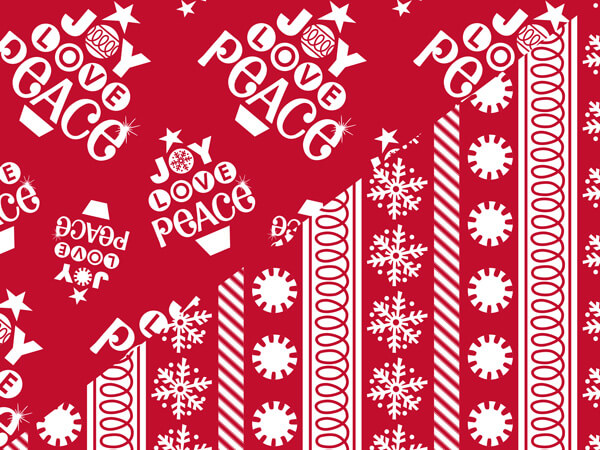 "Peppermint Holiday 24""x417' Roll Reversible Gift Wrap"