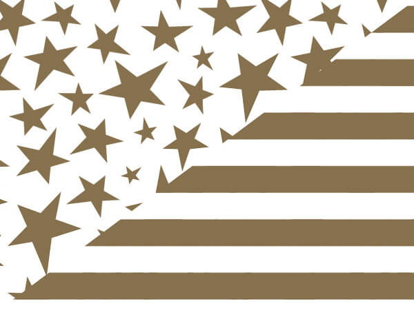 Gold Stars and Stripes Reversible Gift Wrap