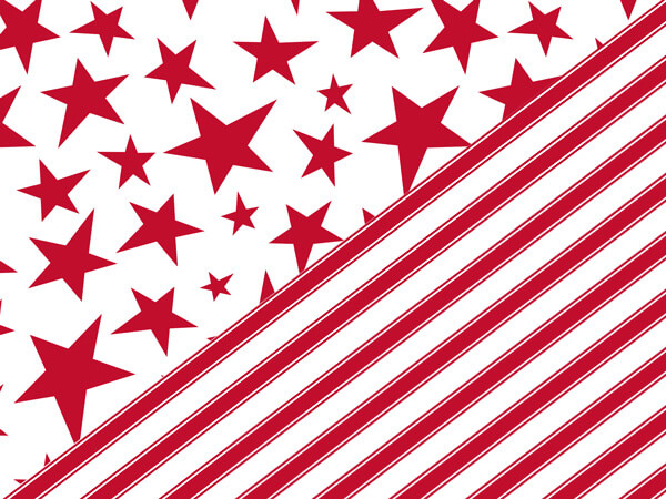 "Red Stars and Stripes 24""x85' Reversible Gift Wrap Roll"
