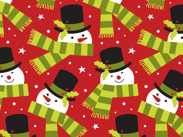 "Frosted Snowman Wrapping Paper 24""x85' Cutter Roll"