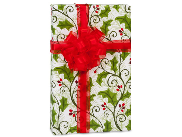 "Holly Berry Greenery Wrapping Paper 24""x417' Counter Roll"