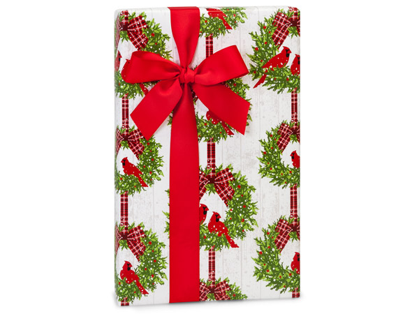 "Christmas Plaid Cardinal 24""x85' Gift Wrap Cutter Box"