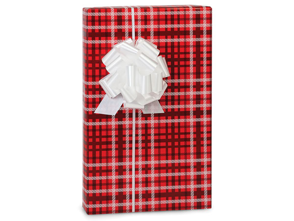 "Chistmas Plaid Wrapping Paper Roll, 24""x85' Cutter Box"