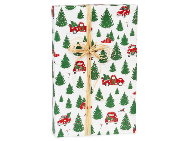 "Tree Farm Christmas Red Truck Gift Wrap, 24""x417' Counter Roll"