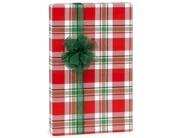 "Christmas Plaid Gift Wrap 24""x417' Counter Roll"