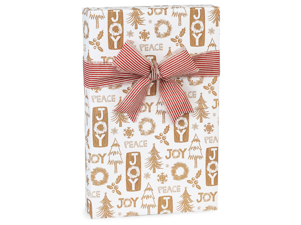 "Rustic Christmas Wishes Gift Wrap 24""x417' Counter Roll"
