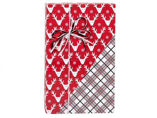 "Reindeer Plaid Reversible Gift Wrap 24""x85' Cutter Roll"