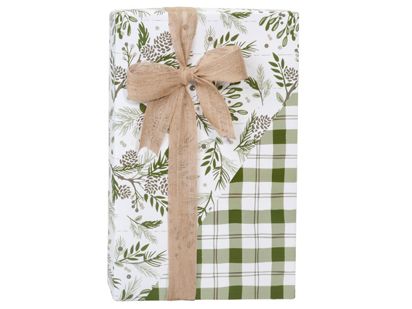 "Pine Holiday Plaid Reversible Gift Wrap, 24""x417' Counter Roll"
