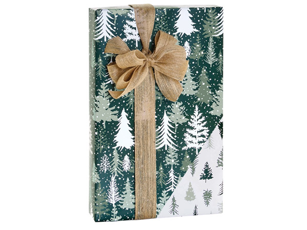 """Snowy Pines Reversible Gift Wrap, 24""""X417' Counter Roll"""