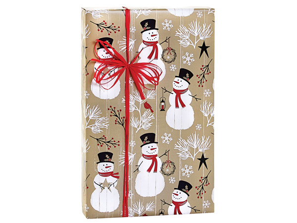 """Rustic Berry Snowman Gift Wrap, 24""""X417' Counter Roll"""