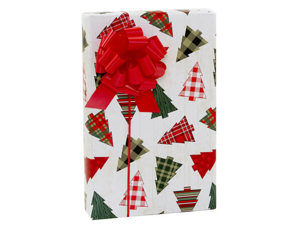 """Plaid Christmas Trees Gift Wrap, 24""""x85' Cutter Roll"""