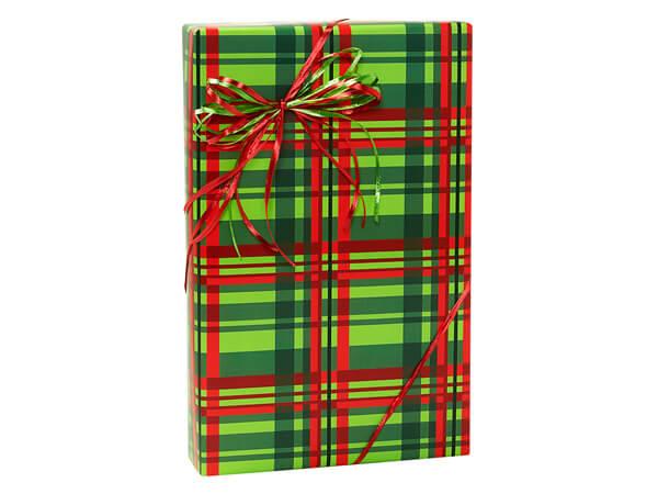 "Festive Plaid Gift Wrap, 24""x85' Cutter Roll"