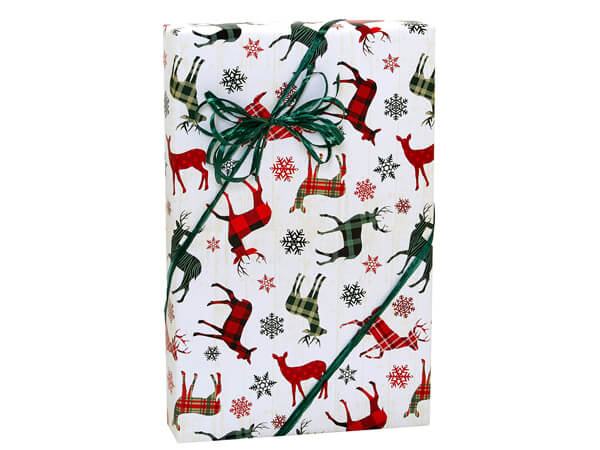 """Festive Reindeer Gift Wrap, 24""""x85' Cutter Roll"""