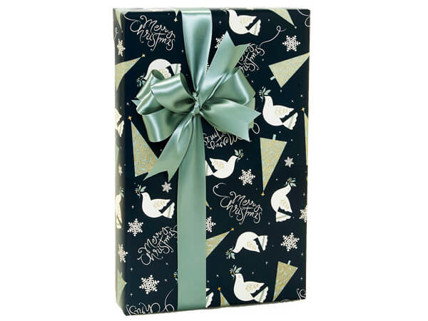 """Elegant Merry Christmas Gift Wrap, 24""""X417' Counter Roll"""