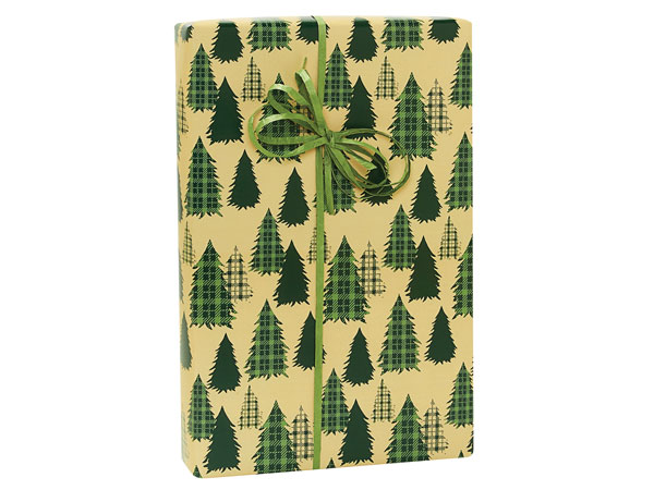 """Evergreen Plaid Trees Wrapping Pape 24""""x85' Cutter Roll"""