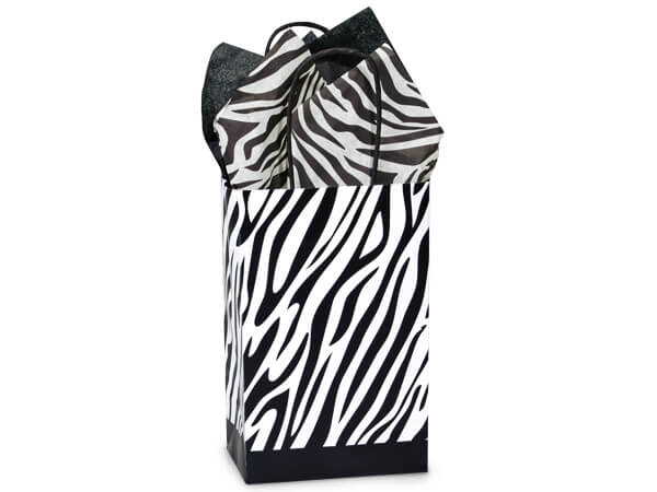 """Rose Zebra Recycled Paper Bags 250 5.25 x 3.5 x 8.25"""""""