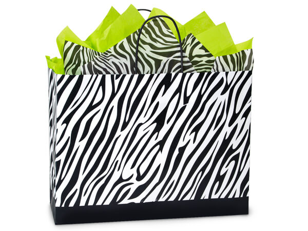Vogue Zebra Recycled Paper Bags 250 16 x 6 x 12.5""