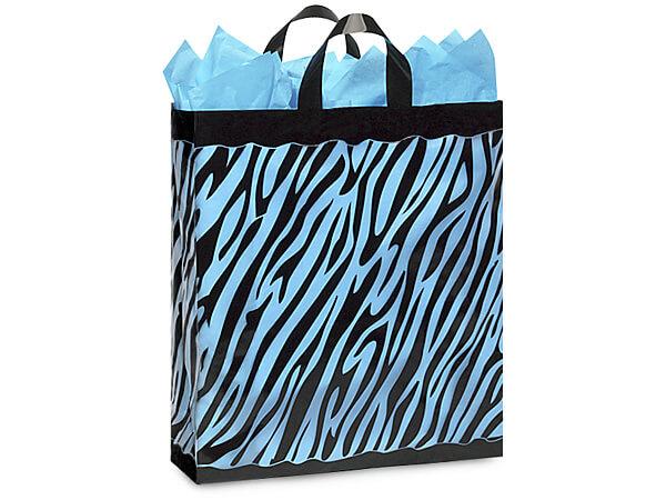 """Zebra Plastic Gift Bags, Queen 16x6x16"""", 100 Pack"""