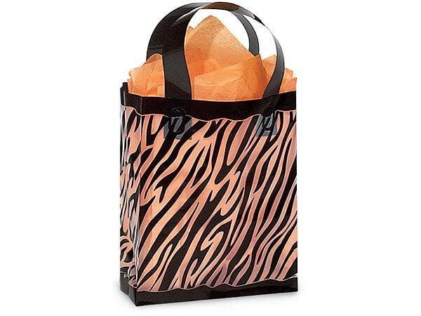 """Zebra Plastic Gift Bags, Cub 8x4x10"""", 25 Pack"""