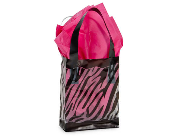 "Zebra Plastic Gift Bags, Jewel 4x2x5.25"", 25 Pack"