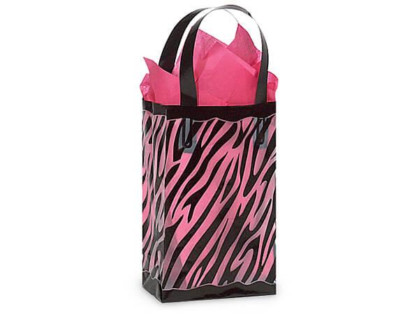 "Zebra Plastic Gift Bags, Rose 5.25x3.25x8.5"", 25 Pack"