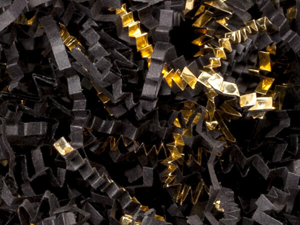 Black & Gold Crinkle Cut Paper Shred, 8 oz Bag