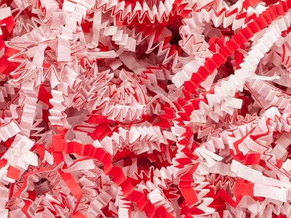 Candy Cane Crinkle Cut Paper Shred, 8 oz Bag