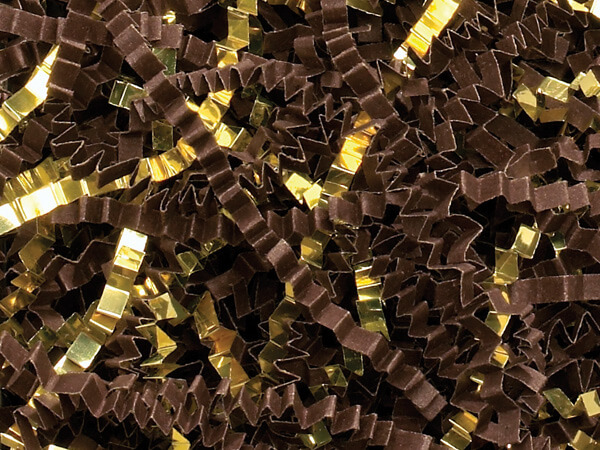 Chocolate & Gold Crinkle Cut Shredded Paper, 8 oz Bag