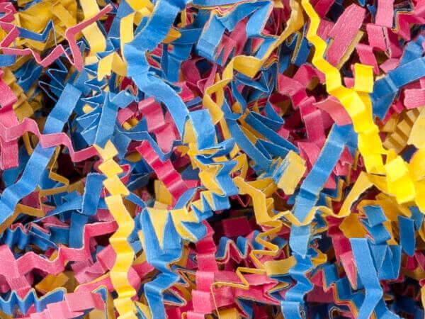 Fiesta Mix Crinkle Cut Paper Shreds, 8 oz Bag