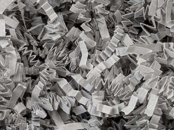 Gray Crinkle Cut Paper Shred, 8 oz Bag