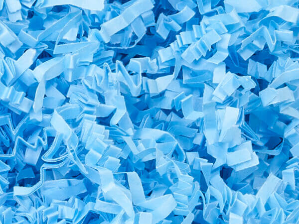 Light Blue Crinkle Cut Paper Shredded Paper, 8 oz Bag