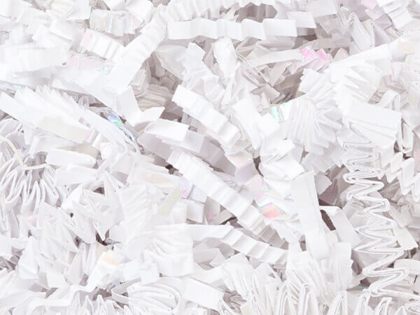 Laminate Iridescent White Crinkle Cut Shredded Paper, 8 oz Bag