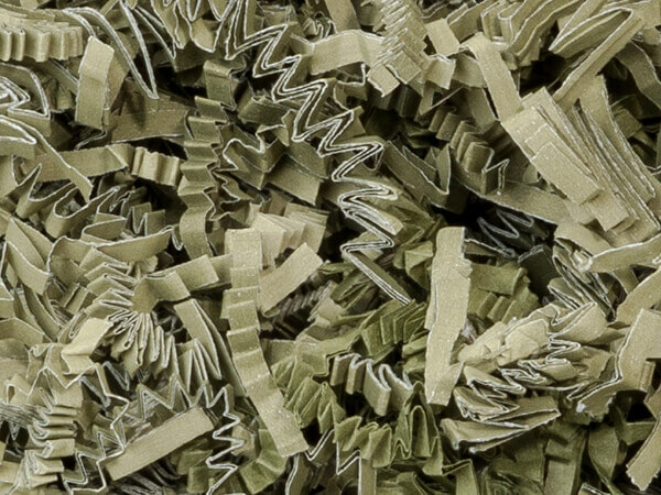 Olive Crinkle Cut Paper Shred, 8 oz Bag