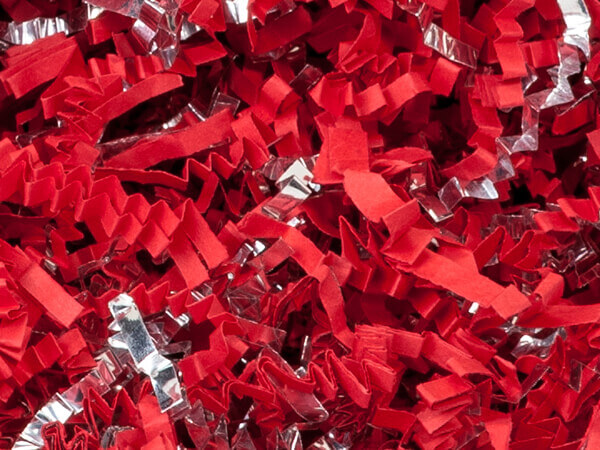 Red & Silver Crinkle Cut Paper Shred, 8 oz Bag