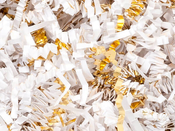 White & Gold Crinkle Cut Shredded Paper, 8 oz Bag