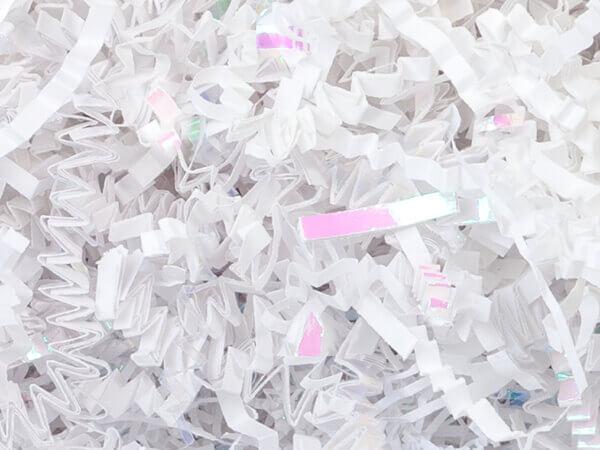 White & Iridescent Crinkle Cut Shredded Paper, 8 oz Bag