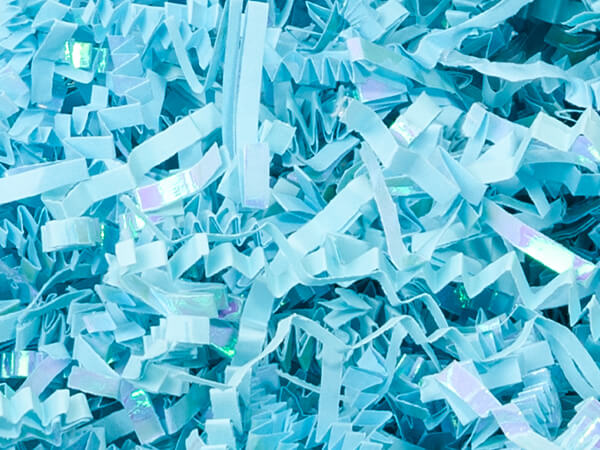 Laminate Light Blue Crinkle Cut Shredded Paper, 10 lb Box